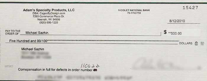 Refund check from Cages by Design