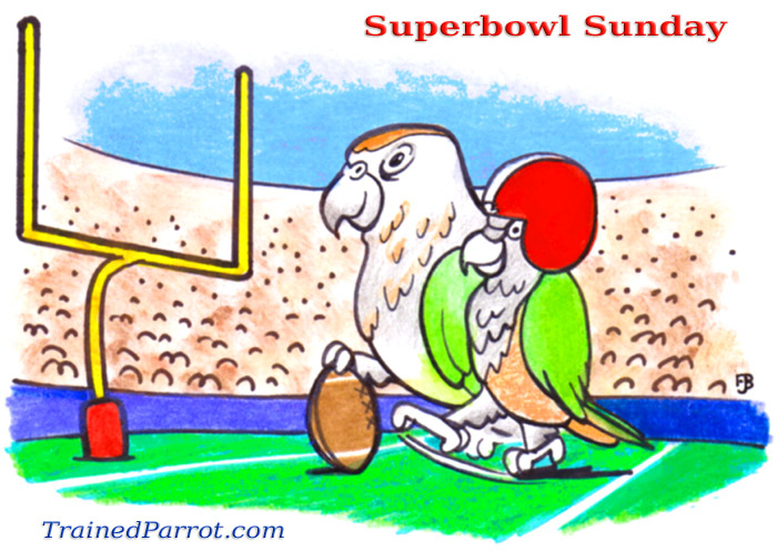 Cartoon of Parrot Kicking Field Goal