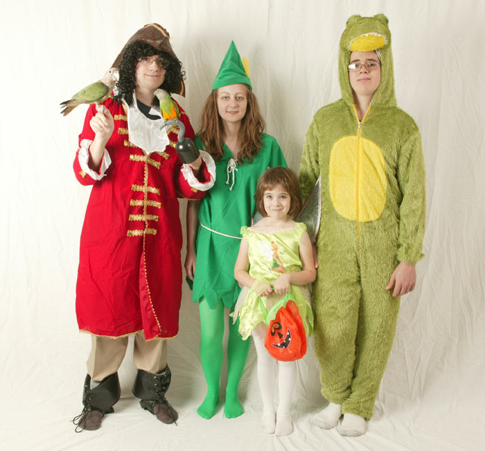 Peter Pan, Captain Hook, Tinker Bell, Crocodile, Parrots