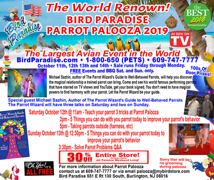 Schedule of Parrot Wizard presentations at 2019 Parrot Palooza
